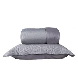 Kit 1 Cobre Leito Queen + Portas Travesseiros Cinza - Bene Casa
