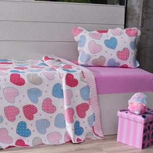 Kit 1 Cobre Leito Solteiro + 1 Porta Travesseiro Ultrasonic Bouti Sweet Love - Bene Casa