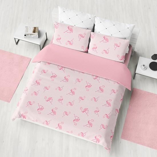 Kit 1 Cobre Leito Solteiro + Porta Travesseiros Bouti Ultrassonic Rolinho Flamingo - Bene Casa