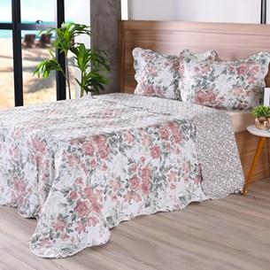 Kit 1 Cobre Leito Solteiro + Porta Travesseiros Bouti Ultrassonic Rolinho Florale - Bene Casa