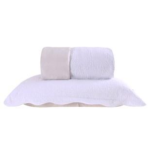Kit 1 Colcha + 2 Porta Travesseiros Casal Dupla Fac Lotus Branco Com Cinza - Tessi