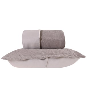 Kit 1 Colcha + 2 Porta Travesseiros Queen Dupla Fac Lotus Caqui - Tessi