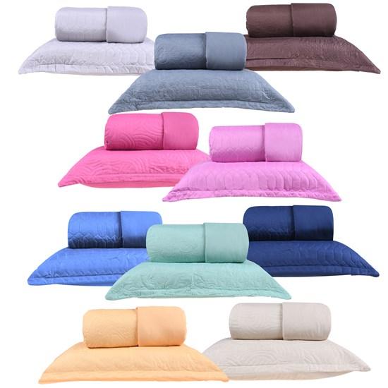 Kit 10 Cobre Leito Lisos Casal Com Porta Travesseiro  Sortimento Liso - Bene Casa