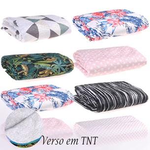 Kit 12 Cobre Leitos Basic Rolinho Casal Sem Porta Travesseiros Verso Tnt Sortido - Panosul