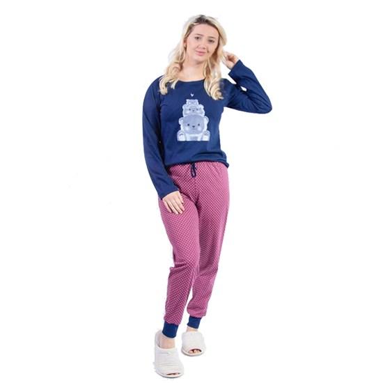 Kit 12 Pijamas Manga Longa Inverno Carinho Malha 100% Algodão Sortido - Due