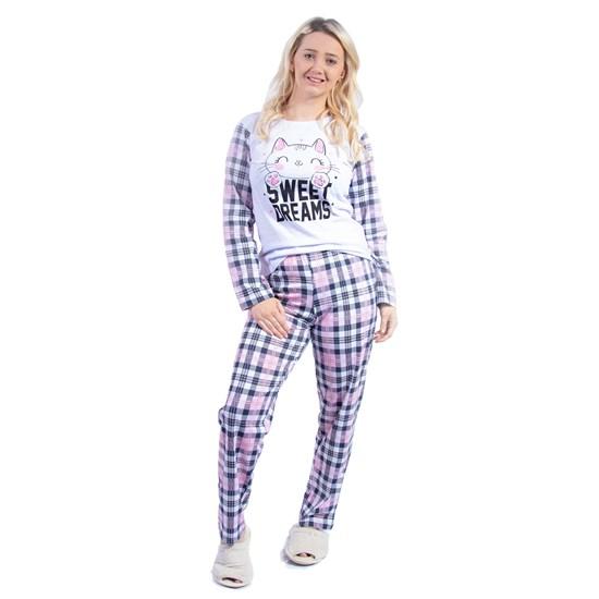 Kit 12 Pijamas Manga Longa Inverno Sonhos Malha 100% Algodão Sortido - Due