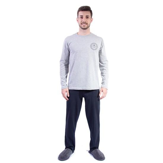 Kit 12 Pijamas Men Manga Longa Inverno   Malha 100% Algodão Sortido - Due