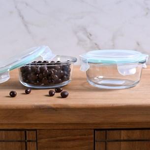 Kit 12 Potes De Vidro Redondo 950Ml Tampa Hermética Com Vedação Em Silicone Transparente - Bene Casa