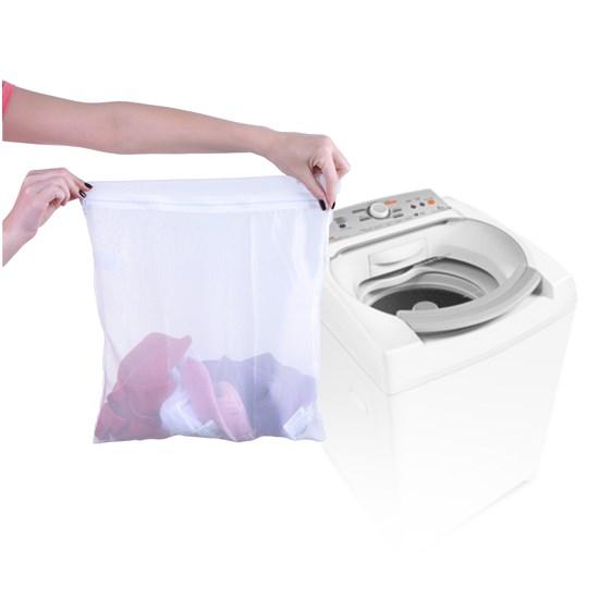 Kit 12 Sacos Para Lavar Roupas 6 Conjuntos Com Ziper Branco - Panosul
