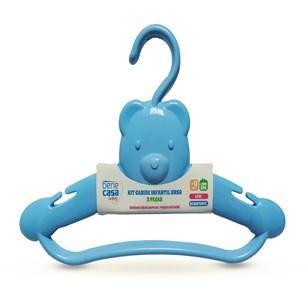 Kit 2 Cabides Infantis Ursinho   Super Resistentes Azul - Bene Casa