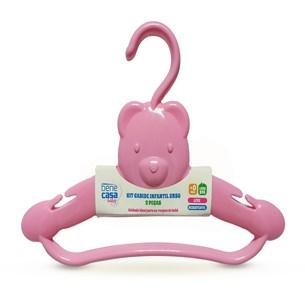 Kit 2 Cabides Infantis Ursinho   Super Resistentes Rosa - Bene Casa