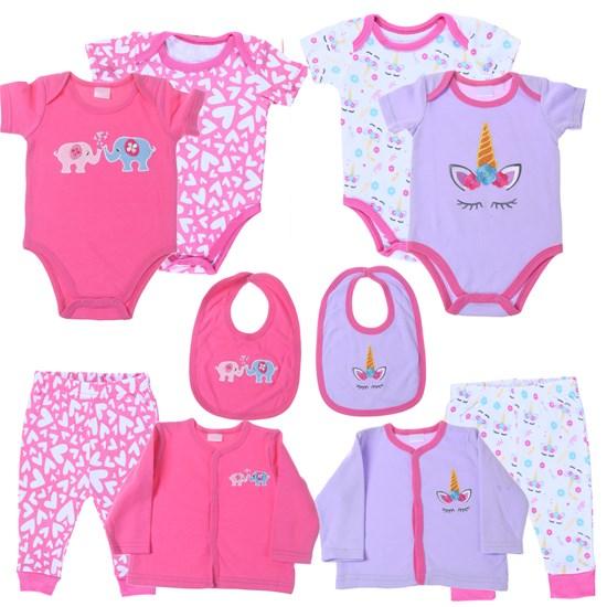 Kit 2 Conjuntos De Roupinhas Para Bebê 0-3 Meses 5 Peças Cada Sortimento Feminino - Bene Casa