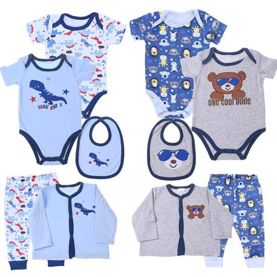 Kit 2 Conjuntos De Roupinhas Para Bebê 0-3 Meses 5 Peças Cada Sortimento Masculino - Bene Casa