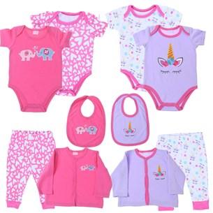 Kit 2 Conjuntos De Roupinhas Para Bebê 3-6 Meses 5 Peças Cada Sortimento Feminino - Bene Casa