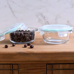 Kit 2 Potes De Vidro Redondos 400Ml Tampa Hermética Com Vedação Em Silicone Único - Bene Casa