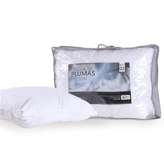 Kit 2 Travesseiros 50Cm X 70Cm Toque De Plumas Slim Sortido - Tessi
