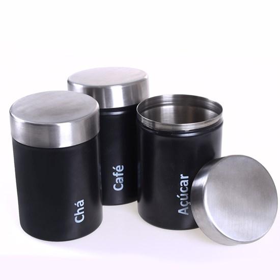Kit 3 Potes Aço Inox Chá Café E Açucar Único - Bene Casa