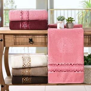 Kit 4 Toalhas De Banho Ornare 100% Algodão Rosa Blush - Bene Casa