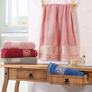 Kit 4 Toalhas De Banho Passione Detalhes Em Dourados Rosa Blush - Tessi
