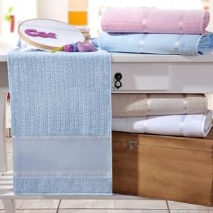 Kit 4 Toalhas De Lavabo Ponto Russo 100% Algodão Azul - Bene Casa