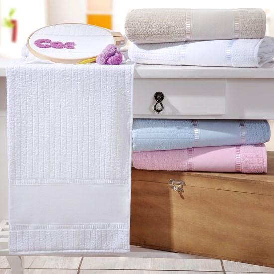 Kit 4 Toalhas De Lavabo Ponto Russo 100% Algodão Branco - Bene Casa