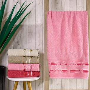 Kit 4 Toalhas De Toalha Banho Corpo Jacquard Fio Retorcido Rosa Renda - Bene Casa