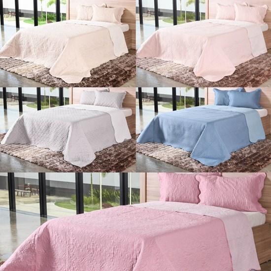 Kit 5 Cobre Leito Casal Com Porta Travesseiro Para Revenda Sortimento Liso - Bene Casa