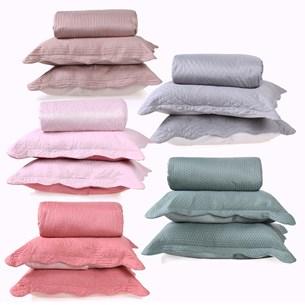 Kit 5 Cobre Leitos Casal Com Porta Travesseiros Para Revenda Sortimento Liso - Bene Casa