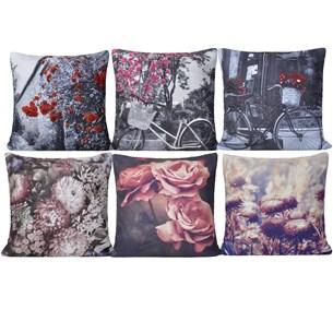 Kit 6 Capas De Almofadas 45Cm X 45Cm Suede Digital Print Floral - Bene Casa