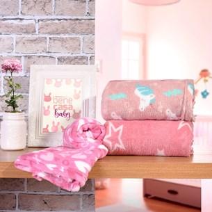 Kit 6 Manta Bebê Para Revenda 70Cm X 1,00M Toque Flannel 250G/M² Meninas - Bene Casa