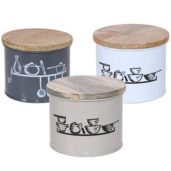 Kit 6 Pote Vintage Aço Estamaltado Pequeno C/ Tampa De Madeira Sortido - Bene Casa