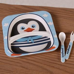 Kit Alimentação 3 Peças   Prato + Talheres Infantil Pinguim - Bene Casa