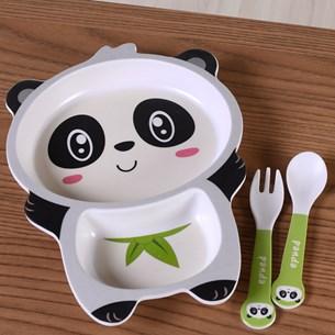 Kit Alimentação Funny 3 Peças   Prato + Talheres Panda - Bene Casa