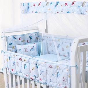Kit Berço Baby Malha 100% Algodão Fio Penteado 8 Peças Carrinhos - Bene Casa