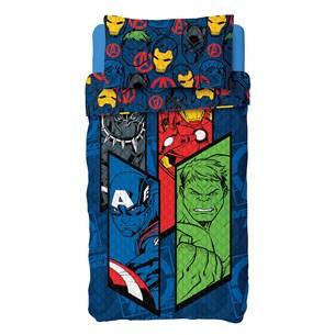 Kit Cobre Leito Avengers Solteiro Com Porta Travesseiro Dupla Face Sortido - Licenciada