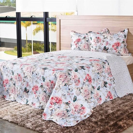 Kit Cobre-Leito Casal C/ Porta Travesseiro Encanto  Florale - Bene Casa