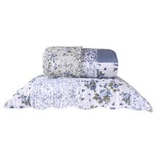 Kit Cobre Leito Casal Com Porta Travesseiro 3 Peças Rolinho  Patchwork Floral - Bene Casa