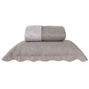 Kit Cobre Leito Casal Dupla Face Com Porta Travesseiro Ultra Lisse Taupe - Bene Casa
