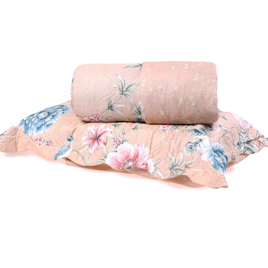 Kit Cobre Leito Casal Dupla Face + Porta Travesseiros Bouti Rolinho Delicate Cristal - Bene Casa