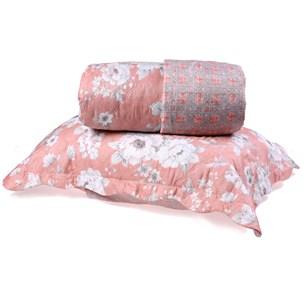 Kit Cobre Leito Casal Dupla Face + Porta Travesseiros Bouti Rolinho Floriza Cristal - Bene Casa
