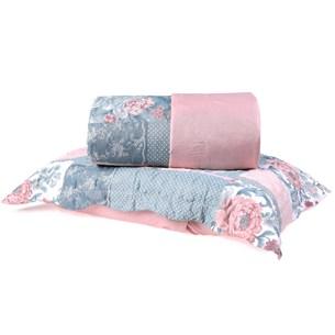 Kit Cobre Leito Casal Dupla Face + Porta Travesseiros Bouti Rolinho Patchwork Cristal - Bene Casa