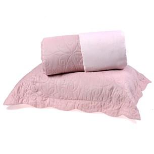 Kit Cobre Leito Casal Dupla Face + Porta Travesseiros Bouti Rolinho Rosa Cristal - Bene Casa