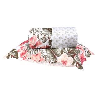 Kit Cobre Leito Casal Dupla Face + Porta Travesseiros Bouti Rolinho Tropical Cristal - Bene Casa