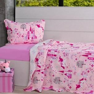 Kit Cobre Leito Casal + Porta Travesseiro Infantil Castelos - Bene Casa