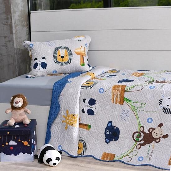 Kit Cobre Leito Casal + Porta Travesseiro Infantil Floresta - Bene Casa