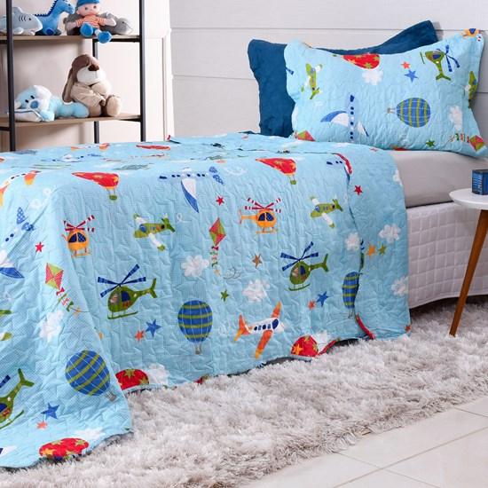 Kit Cobre Leito Casal + Porta Travesseiro Rolinho Kids Aviões - Bene Casa
