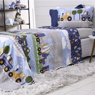 Kit Cobre Leito Casal + Porta Travesseiro Rolinho Kids Estradas - Bene Casa