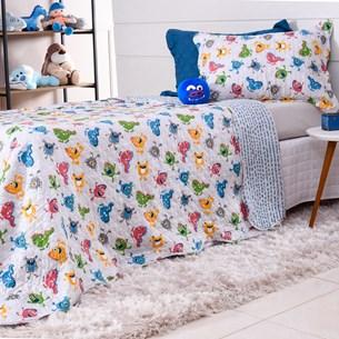 Kit Cobre Leito Casal + Porta Travesseiro Rolinho Kids Monstros - Bene Casa
