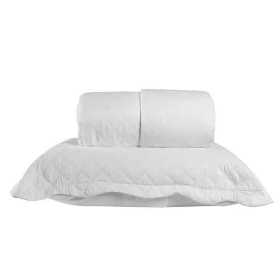 Kit Cobre Leito Casal + Porta Travesseiro Rolinho Liso Branco - Bene Casa