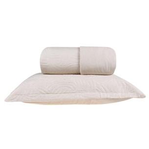 Kit Cobre Leito Casal + Porta Travesseiro Rolinho Liso Off White - Bene Casa